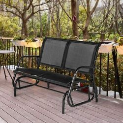 Aecojoy Outdoor Swing Glider Bench 2 Person Loveseat Patio Rocking Chair