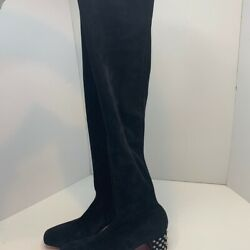 Christian Louboutin Black Study Over The Knee Boots New