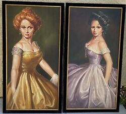 """William (Bill) Hall- (Am. 1914-1975) """"Ladies Of The Old West"""" Original Paintings"""