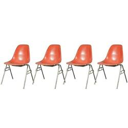 Original 1960s Eames For Herman Miller Orange Fiberglass Shell Chairs