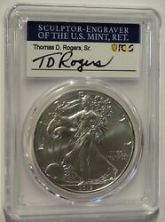 2019 W Burnished Silver Eagle Pcgs Sp70 T.d. Rogers Signed First Day Of Issue