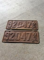 1916 Wisconsin License Plates Pair Ford Model T Chevrolet Dodge Cadillac Buick
