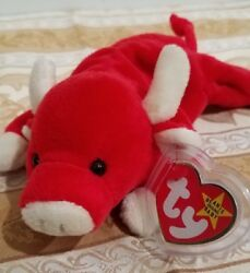Rare Ty Beanie Baby - Snort Red Bull - Mwmt W/errors And Tag Protector