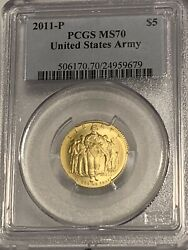 2011-p United States Army 5 Gold Coin. Pcgs Ms70