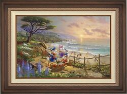 Thomas Kinkade Studios Donald And Daisy A Duck Day Afternoon 18 X 27 S/n Framed