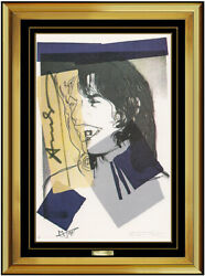 Andy Warhol Authentic Mick Jagger Portrait Lithograph Signed Framed Rare Artwork