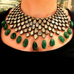 Vintage Style 16.85ct Antique Cut Diamond Emerald Silver Choker Necklace Jewelry