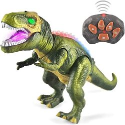 LED Light Up Remote Control Dinosaur Walking Roaring Realistic T Rex in Green $26.99