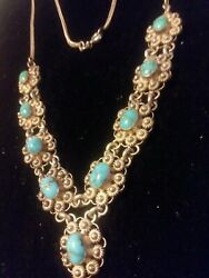 Vintage Turquoise Cabochon Necklace With Sterling Flowers/petal Design. Rare