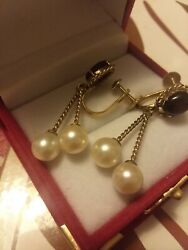 Silid 14k Fine South Sea Pearl Dangling Earings/two Rope Bars W/double Pearls.