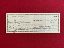Vince Lombardi, Signed, Green Bay Packers Payroll Check Scarce / Vintage
