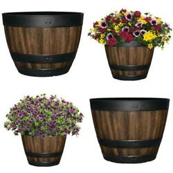 11.3 20 In. Resin Barrel Planter Indoor Outdoor Large Flower Pot Garden Decor