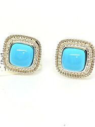 Oval Cabochon Turquoise White Diamonds Halo Earrings In 14k White Gold.