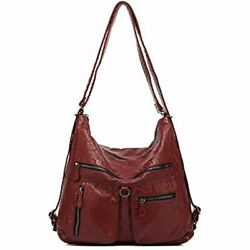 Hobo Bags Women Large Soft Washed Leather Purses And Handbags Wine Red 202107 $54.93