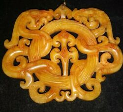 Fine Chinese Yellow Jade Dragons, H/carved 2 Side, Piercing, Pendent Emulate/lg