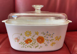 Corning Ware 5 Litre Wildflower Saucepan With Lid - Vintage Very Rare