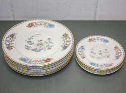 10 A Raynaud Ceralene Limoges Vieux Chine White, 6 Dinner And 4 Salad Plate Set
