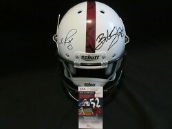 Bob Stoops And Lincoln Riley Signed Oklahoma Ou Sooners Bring The Wood Helmet Jsa