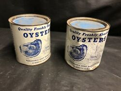 Vintage 1 Gallon Oyster Cans Lot Of 2empty