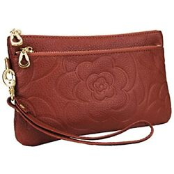 YALUXE Wristlet Women Real Leather Flower Rose Large Clutch Wallet Phone Pro Max $23.18