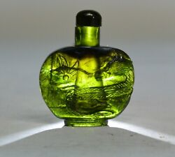 Mid Century Chinese Green Tourmaline Carved Carving Dragon Snuff Bottle