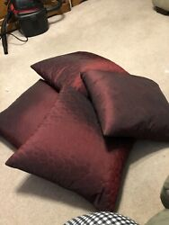 Decorative Couch Pillows Set Of 4 In Burgandy