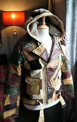 Rare Bespoke Hooded Leather Shearling Sheepskin Perfecto Biker Grizzly Jacket