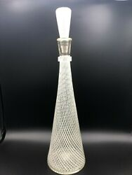 Vintage Murano Fratelli Toso Roticello Ribbons Decanter Vase W/stopper, 17 3/4