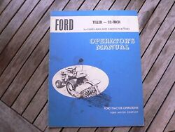 Ford Tractor 32 Inch Tiller Lawn Garden Owner Operator Manual Guide Book Set Up