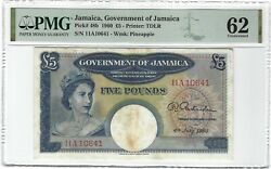 Jamaica 5 Pounds 1960 P-48b Government Pmg 62 Unc Uncirculated And Very Rare