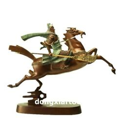 Famous China Artist Pure Bronze Abstract Horse Guan Gong Household Art Statue
