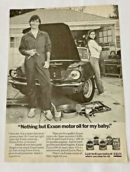 1982 Vtg Print Ad Exxon Extra Nothing But Exxon Motor Oil For My Baby.