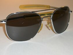 58 20mm RANDOLPH ENG CHROME CURVED PILOT GRAY CRYSTAL LENS AVIATOR SUNGLASSES $135.99