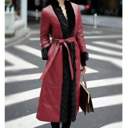 Womens 90 Down Long Real Leather Overcoat Waistband Mink Fur Collar Snow Parkas