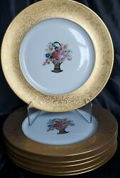 6 Heinrich Andco Selb Bavaria H And C Gold Encrusted Floral Dinner Plates 11andrdquo Gorg