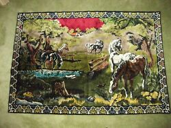 Large Tapestry Wall Hanging Horses in Rural Setting Great Colors 68quot; x 47quot; Decor
