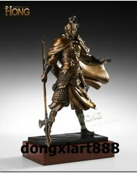 46 Cm China Ancient Fame Invincible Mars Zhao Zilong General Bronze Wood Statue