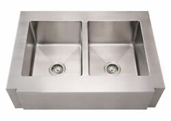 Whitehaus Whncmap3621eq Stainless Steel 36and039and039 Double Apron Kitchen Sink