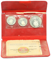 Laos, Set Of 3 Silver Coins From 1975, 2 X 5000 And 10000 Kip, Issue Folder