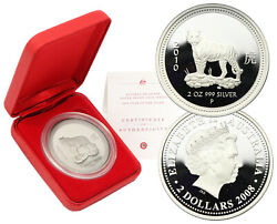 Year Of The Tiger 2008 2010 Australia 2 Dollars 2 Oz. Of 999 Silver Proof