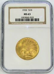 1932 Gold United States 10 Indian Head Eagle Coin Ngc Mint State 63