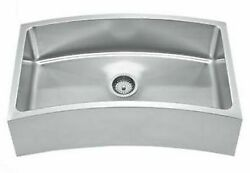 Whitehaus Whnapcv3218 Stainless Steel 32and039and039 Single Curve Apron Kitchen Sink