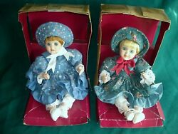 2 New Wind Up Musical Moving Body Mechanical Porcelain Baby Dolls Great Gifts