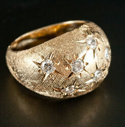 Vintage 1970and039s 14k Yellow Gold Round Diamond Cocktail Ring .70ctw Size 5.75
