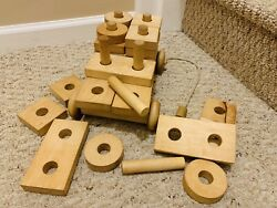 Wood Wagon Pull Toy W/ Building Block Set- Amish Handmade Wooden Toys And Blocks