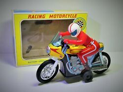 Daiya Japan 1960and039s B/o Tin Racing Motorcycle In Original Box