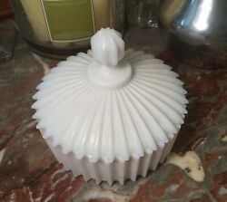 Rare Art Deco Fostoria Milk Glass Butter Candy Or Vanity Covered Dish