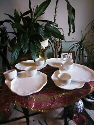 Vintage Colony Harvest Milk Glass Snack Plate And Cup Set Of 6 + 4 Plates.mint