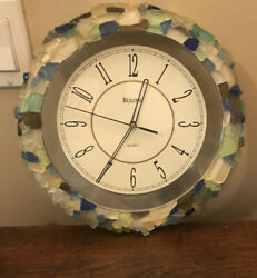 BULOVA WALL CLOCK 12quot; ROUND WALL CLOCK WITH Rock Frame