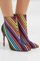 Christian Louboutin So Kate 100 Striped Glittered Leather Ankle Booties 385